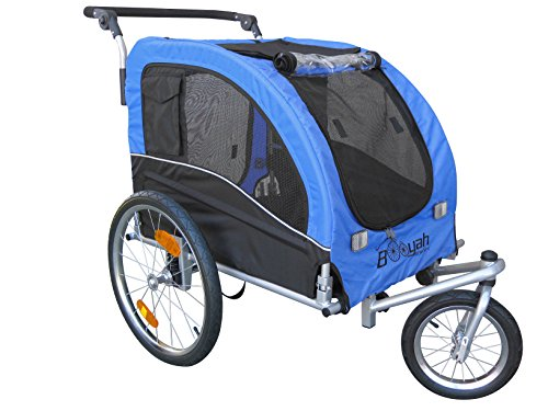 Booyah Large Pet Bicycle Bike Trailer & Jogger With Shocks - Blue front-862373
