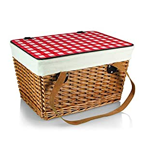 Amazon.com: Picnic Time Canasta Basket with Red Check Lid, Grande