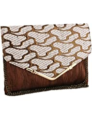 Sukkhi Stylish White And Brown Clutch Handbag BW1035CD1450