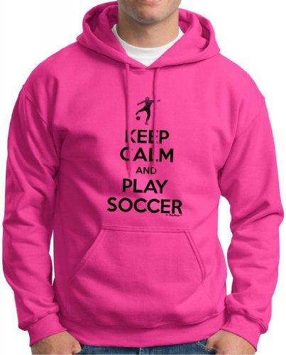 Keep Calm And Play Soccer Hoodie Sweatshirt Medium Heliconia