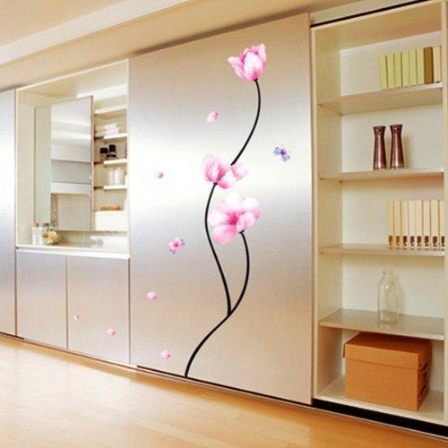 Jiniy PINK FLOWER WALL ART DECOR Mural Decal STICKER(KR0011)