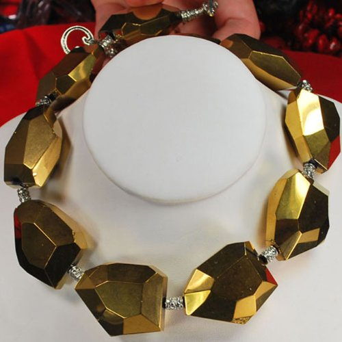 Gold Crystal Large Beads Silver Toggle Necklace N2_0612_15