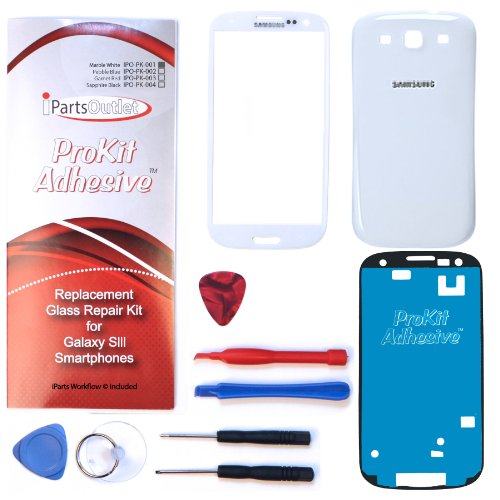 S3 Prokit Conversion Replacement Screen Glass Lens Color Conversion Kit S3 I9300 I747 T999 I535 (Marble White) S3 Prokit Adhesive