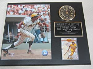 Willie Stargell Pittsburgh Pirates Collectors Clock Plaque w 8x10 Photo and Card by J & C Baseball Clubhouse