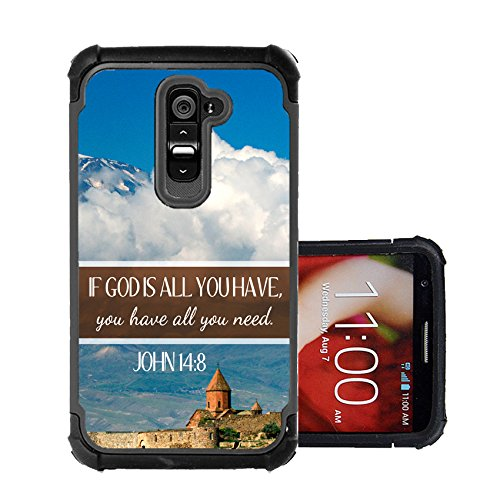 CorpCase LG G2 Case - Bible Verse Christian Quote If God Is All You Have / Hybrid Unique Case With Great Protection (Lg G2 Quote Case compare prices)
