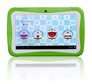 Contixo Kids 7-inch Touch Screen Android 4.1 Tablet PC Dual-Cameras Wifi Green with Rubber Protection Green Case