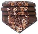 soljo - tablecloth tablerunner table runner linen Thai Silk Elegant precious FRITURE 200 cm x 30 cm many colors (brown)