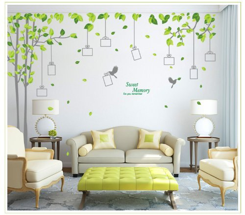 Yyone Sweet Memory Word Grey Trunk Green Leafs Of Nine Picture Frame Two Birds Living Room Wall Sticker Decor