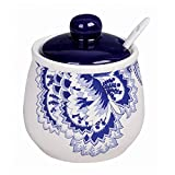 Loraine Ceramic Sugar Bowl Pot 400ml (13.5oz) with Spoon and Cover, LR-24817