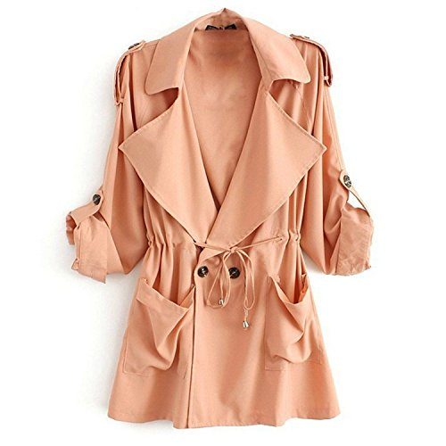 Minetom Cappotto Giacca Manica Lunga Fusciacca Trench Coat Donna ( Rosso EU S )