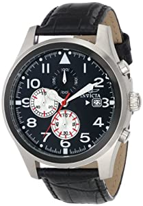 Invicta Men's 15196 Specialty Chronograph Black Dial Black Leather Band Watch