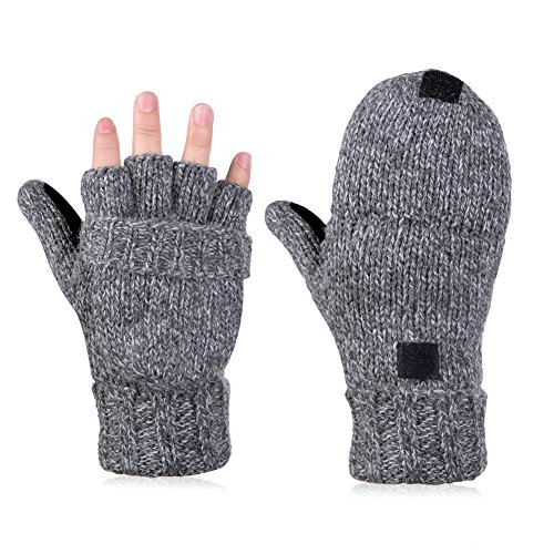 Vbiger maschile di lana lavorato a maglia ripiegare Mittens Cabrio Inverno Guanti senza dita di guida (Grigio scuro 2)