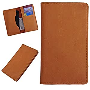 DCR Pu Leather case cover for Intex Aqua 4.5E (orange)