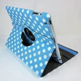 Blue and White Polka Dot Pattern PU Leather Case For iPad 2 With 360 Degrees Rotating Stand