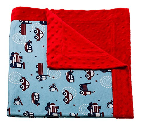 Planes And Trains Printed Minky Dot Baby Blanket front-725397