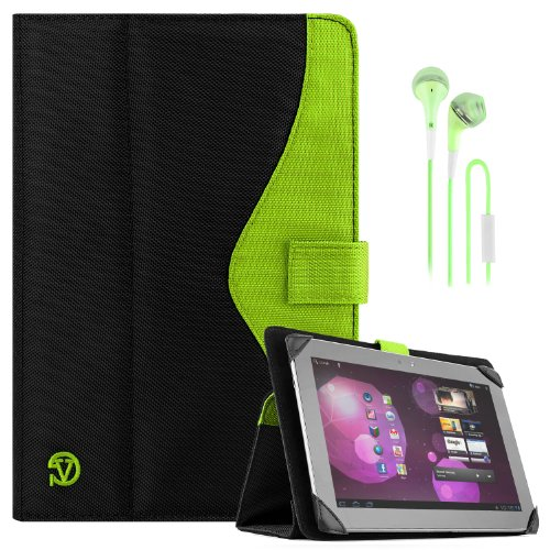 Soho Portfolio Stand - Nylon Detachable Flip Cover Case (Lime Neon Green) For Asus Transformer Pad 10.1 Tablets (Tf300Tl, Tf300T, Tf700T, Tf101) + Matching Green Handsfree Earphone /Microphone Headphones