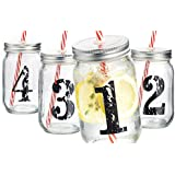 Palais Mason Jar Tumbler Mug with Stainless Steel Lid and Decorative Straws - 15 Ounces - Set of 4 (Numbered 1-2-3-4 W/ Candycane Straws)
