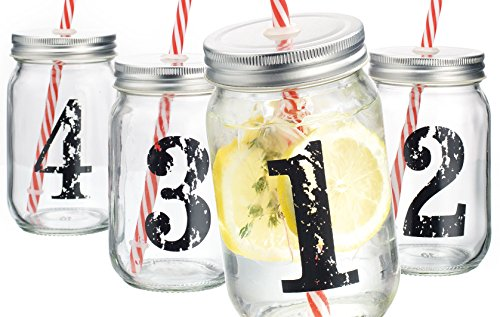 Palais Mason Jar Tumbler Mug with Stainless Steel Lid and Decorative Straws - 15 Ounces - Set of 4 (Numbered 1-2-3-4 W/ Candycane Straws) (Numbered Candy compare prices)