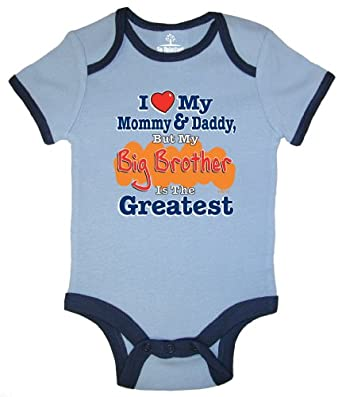 So Relative! Love Mommy & Daddy Big Brother Greatest Blue Ringer Baby Bodysuit (Blue Ringer, 12-18 Months)