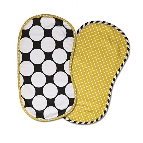 Bacati 2 Piece Dots/Pin Stripes with Yellow Pin Dots Burpies Set, Black/White - 1