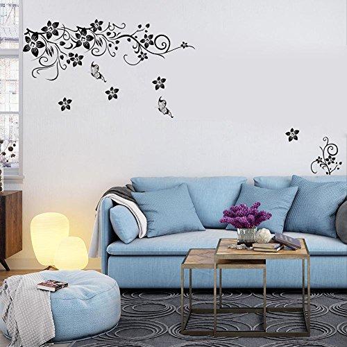 soledi wandtattoos wandsticker elegant schwarze sch ne blumen pflanzen motiv blumen. Black Bedroom Furniture Sets. Home Design Ideas