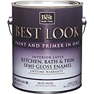 Best Look Interior Wall Paint Kitchen, Bath, And Trim Semi-Gloss Enamel-S/G WHT/