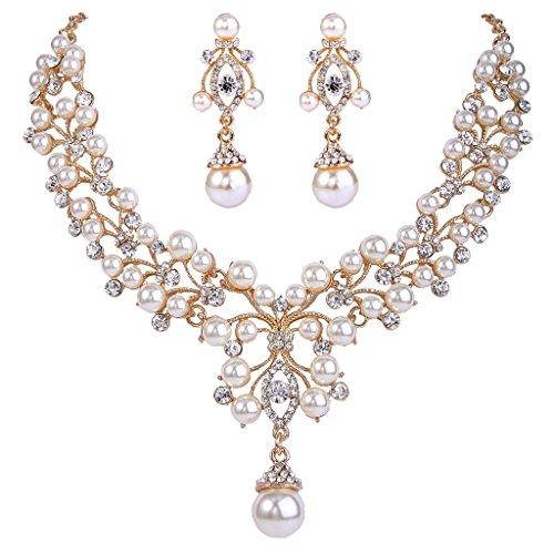EVER FAITH Flower Simulated Pearl Wedding Jewelry Set Clear Austrian Crystal - G…