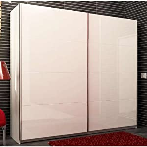 armadio ampio elegante due ante scorrevoli laccate bianco