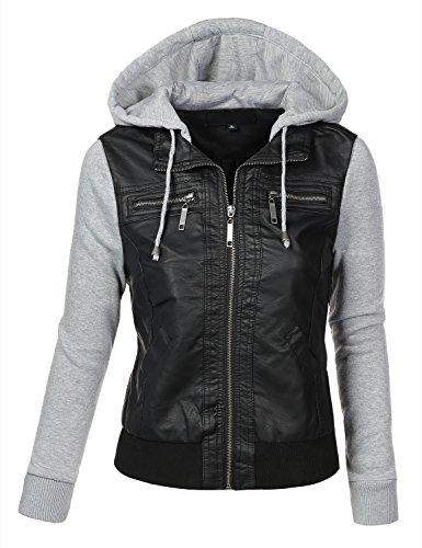 09c655e188fd BIADANI Women Faux Leather Hoodie Jacket - Import It All