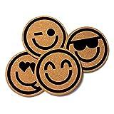 Happy Faces Emoji Cork Coasters, Set of 4