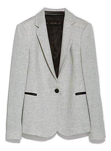 [ザラ] Zara シンプル ジャケット Velour Blazer With Faux グレー [並行輸入品] (S)