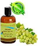 ORGANIC GRAPE SEED Oil. 100% Pure / Natural / Undiluted / Virgin / Unscented/ Certified Organic/ Cold Pressed Carrier Oil for Skin, Hair, Massage and Nail Care. 1 Fl. oz- 30 ml Botanical Beauty.