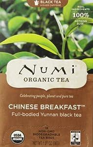 Numi Organic Tea Chinese Breakfast, Full Leaf Black Tea,1.27 oz, 18 Count Tea Bags
