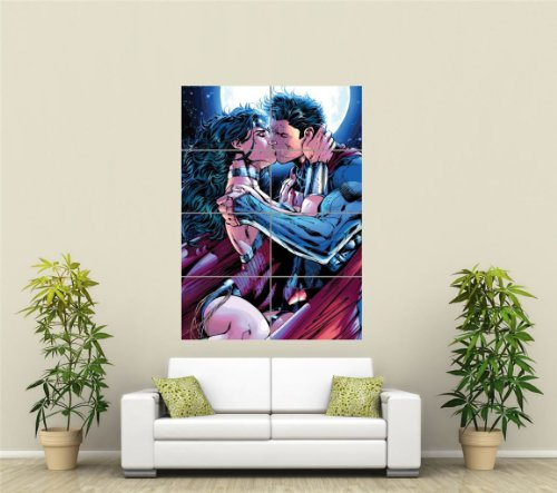 superman-wonderwoman-kiss-giant-picture-art-print-poster-plakat-druck-st1057