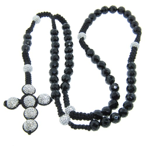 10mm Faceted Onyx Gemstone with 12mm White Czech Crystal Rosary Necklace