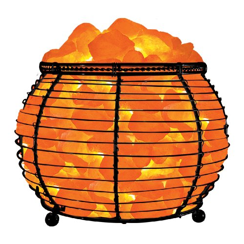 Wbm 7 1 2 inch wide and 6 1 7 inch tall round basket lamp for Wbm 7 tall himalayan natural crystal salt lamp