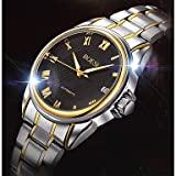 Fashion Watches Men's Automatic Mechanical Hollow Dial Calendar Silver Gold Steel Band Wrist Dress Watch (Color : Black, Size : for Men-One Size) (Color: Black, Tamaño: For Men-One Size)
