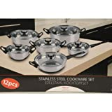 Stainless Steel Cookware Set (6 x Pots & Pans & 6 x Glass Lids)