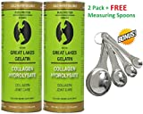 GREAT LAKES GELTAIN, COLLAGEN HYDROLYSATE 16-Ounce Can - 2 PACK + FREE MEASURING SPOONS