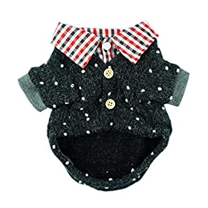 FurBaby Fashion Western Black Pet Sweaters for Dog Clothes Polo Coat, Large