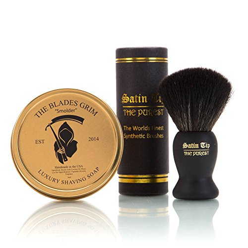 "~Shaving Soap and Shave Brush Combo Kit~ ""Smolder"" Gold Luxury Shaving Soap and Satin Tip The Purest Black Synthetic Hair Luxury Shave Brush - By The Blades Grim"