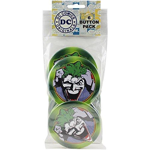 """Button set DC Comics Batman Joker Close-Up Round 6 Individual Loose Buttons, 3"""""""