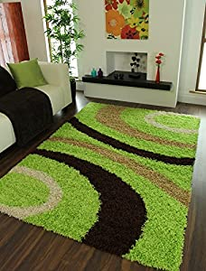 Helsinki Cheap Funky Lime Green, Brown & Beige Non Shedding Shaggy Rug 1888 - 4 Sizes Available from The Rug House