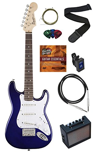 Squier by Fender Mini Strat Electric Guitar Bundle with Amplifier, Instrument Cable, Tuner, Strap, Strings, Winder, Picks, Austin Bazaar Instructional DVD, and Polishing Cloth - Blue (Guitar Amp Fender compare prices)