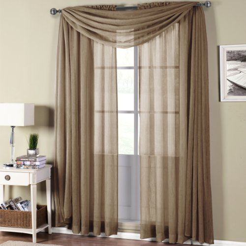 Abri Mocha Rod Pocket Crushed Sheer Curtain Panel, 50x96 inches, by Royal Hotel (Royal Hotel Drapes compare prices)