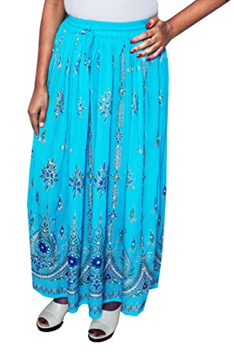 Womens Indian Long Skirts Sequins Ankle Length Rayon India Clothing (Blue, One Size)