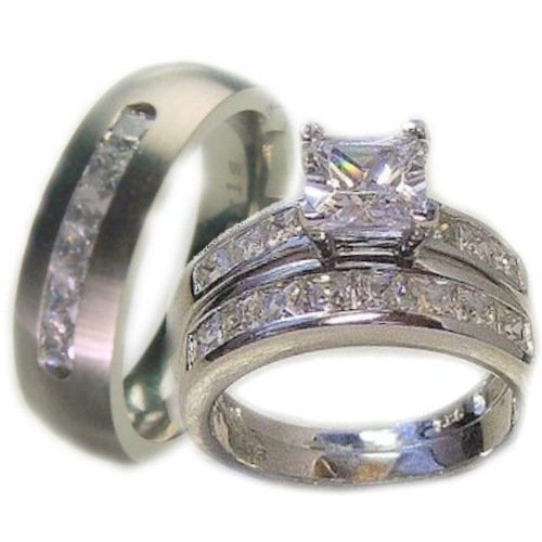 Cheap White Gold Wedding Rings Sets For His And Her Jewelry Ideas