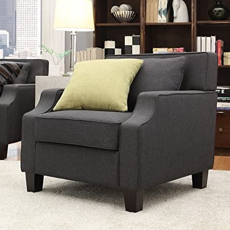 Broadway Contemporary Modern Dark Grey Fabric Comfortable Upholstered Sloped Track Armchair