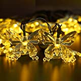 Solar String Lights - BIRUGEAR Decorative Butterfly Solar Powered String Lights 20 LED For Outdoor - Gardens - Lawn - Patio - Wedding - Christmas - Parties - Warm White 15 Feet