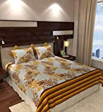 Home Candy Elegant Cotton Double Bedsheet with 2 Pillow Covers - Mustard Yellow (CTN-BST-337)
